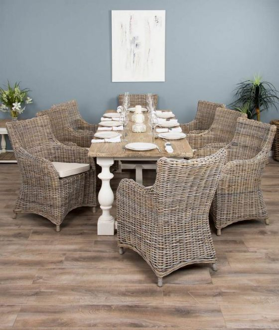 2.4m Reclaimed Pine Ellena Dining Table with 8 Donna Chairs
