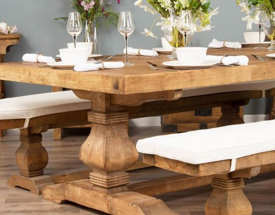 2.4m Reclaimed Elm Pedestal Table - Extra Wide