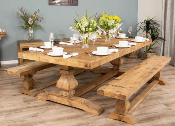 2.4m Reclaimed Elm Pedestal Dining Table with 2 Backless Benches