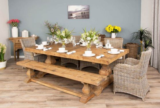 2.4m Reclaimed Elm Pedestal Dining Table with 5 Donna Armchairs and 1 Bench