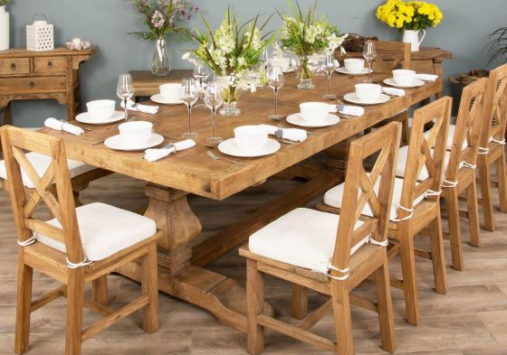 2.4m Reclaimed Elm Pedestal Dining Table with Elm Cross Back Dining Chairs and 1 Bench