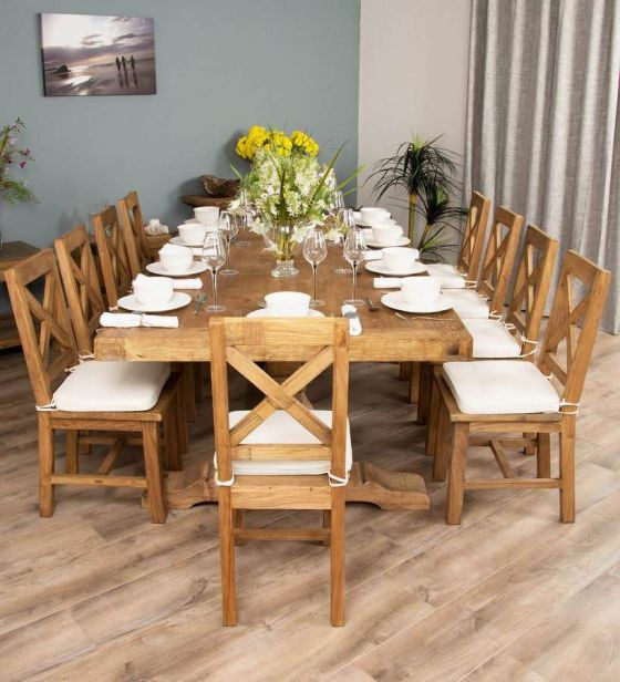 2.4m Reclaimed Elm Pedestal Dining Table with 10 Cross Back Dining Chairs