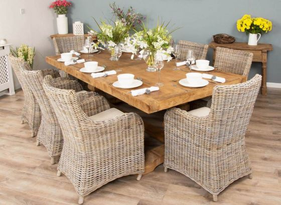 2.4m Reclaimed Elm Pedestal Dining Table with 8 or 10 Donna Armchairs