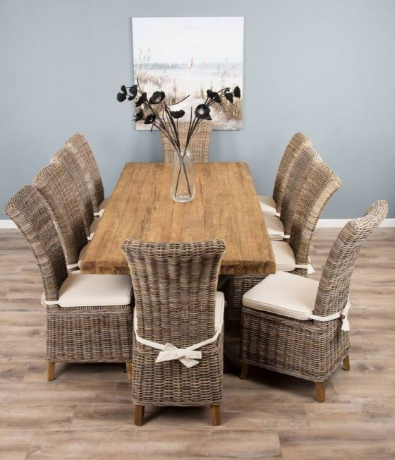 2.4m Reclaimed Teak Urban Fusion Cross Dining Table with 10 Latifa Dining Chairs
