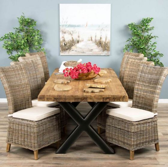 2.4m Reclaimed Teak Urban Fusion Cross Dining Table with 8 Latifa Dining Chairs