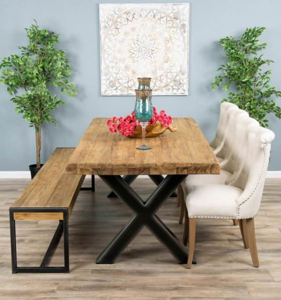 2.4m Reclaimed Teak Urban Fusion Cross Dining Table with One Backless Bench and 4 or 6 Natural Windsor Ring Back Dining Chairs