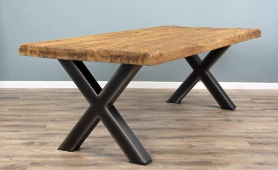 2m Reclaimed Teak Urban Fusion Cross Dining Table