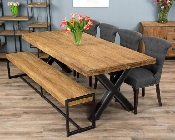 2.4m Reclaimed Teak Urban Fusion Cross Dining Table with One Backless Bench and 4 or 6 Dove grey Windsor Ring Back Dining Chairs