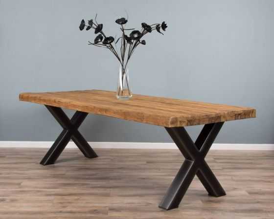 2.4m Reclaimed Teak Urban Fusion Cross Dining Table