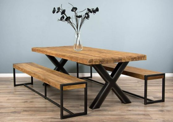 2.4m Reclaimed Teak Urban Fusion Cross Dining Table with Two Backless Benches