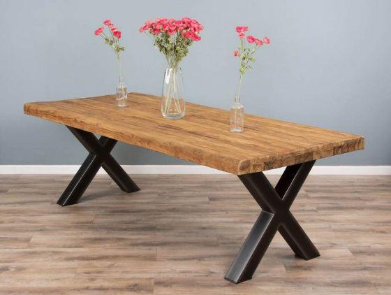 2.2m Reclaimed Teak Urban Fusion Cross Dining Table