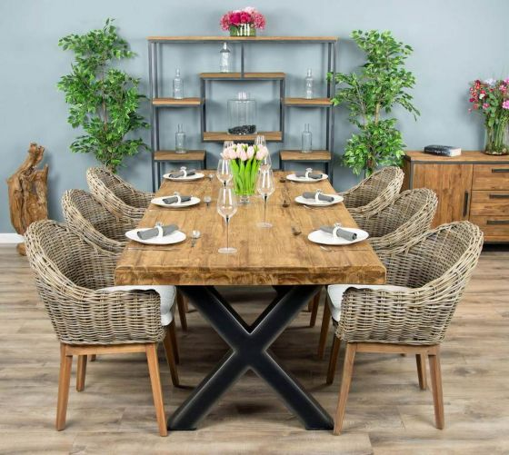 2.4m Reclaimed Teak Urban Fusion Cross Dining Table with 6 or 8 Scandi Armchairs