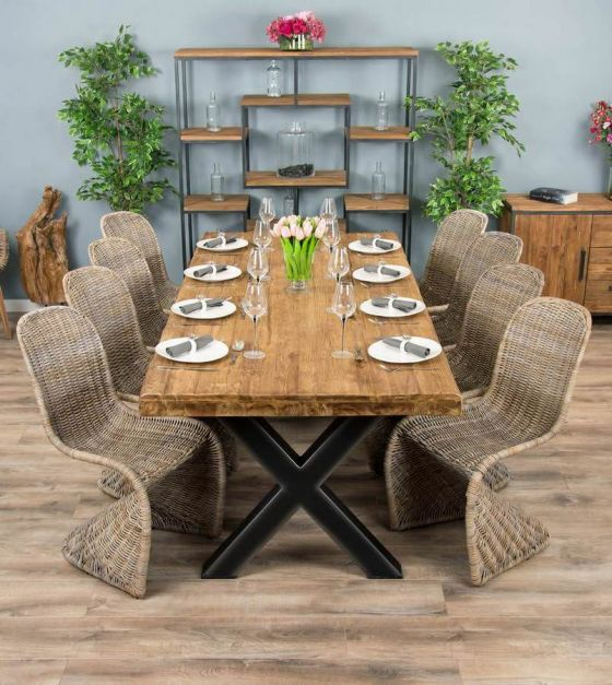 2.4m Reclaimed Teak Urban Fusion Cross Dining Table with 8 or 10 Stackable Zorro Chairs