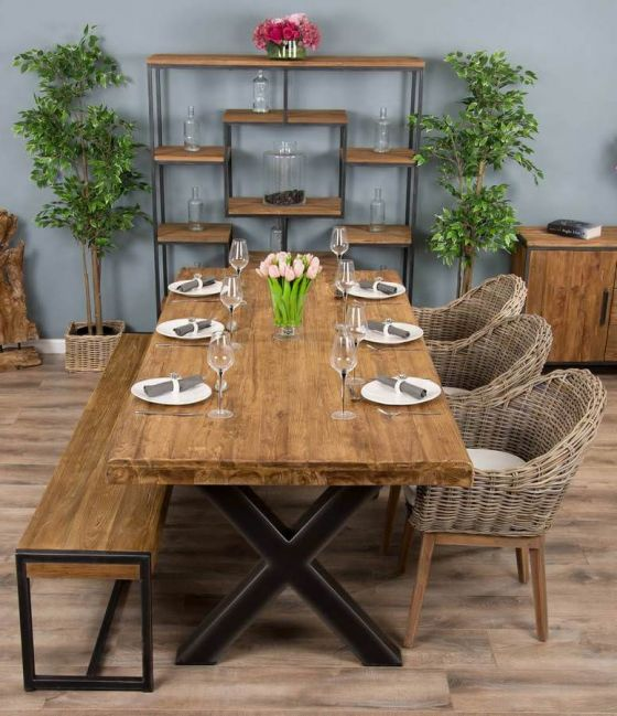 2.4m Reclaimed Teak Urban Fusion Cross Dining Table with One Backless Bench and 3 or 5 Scandi Armchairs