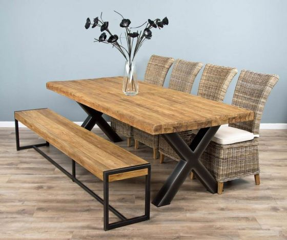 2.4m Reclaimed Teak Urban Fusion Cross Dining Table with One Backless Bench and Four or Six Latifa Dining Chairs