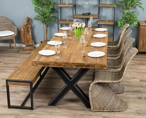 2.4m Reclaimed Teak Urban Fusion Cross Dining Table with One Backless Bench and 4 or 6 Stackable Zorro Chairs