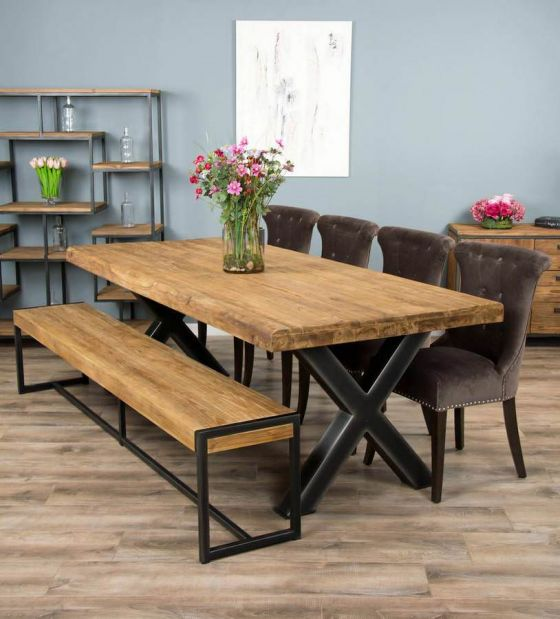 2.4m Reclaimed Teak Urban Fusion Cross Dining Table with One Backless Bench and 4 or 6 Velveteen Ring Back Dining Chairs