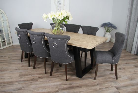 2.4m Reclaimed Pine Industrial Chic Cubex Table with Black Legs and 8 Grey Windsor Chairs