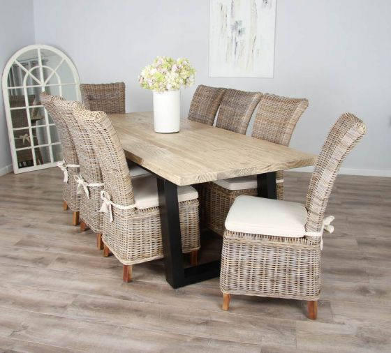 2.4m Reclaimed Pine Industrial Chic Cubex Table with Black Legs and Latifa Dining Chairs