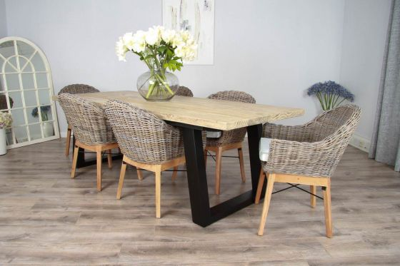 2.4m Reclaimed Pine Industrial Chic Cubex Table with Black Legs and 6 Scandi Armchairs