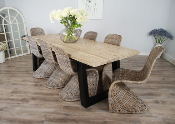 2.4m Reclaimed Pine Industrial Chic Cubex Table with Black Legs and 8 Zorro Chairs