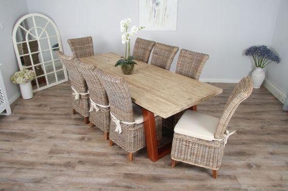 2.4m Reclaimed Pine Industrial Chic Cubex Table with Copper Coloured Legs and 8 Latifa Chairs