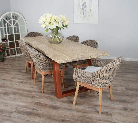 2.4m Reclaimed Pine Industrial Chic Cubex Table with Copper Coloured Legs and 6 Scandi Armchairs