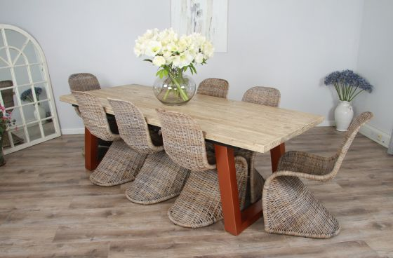 2.4m Reclaimed Pine Industrial Chic Cubex Table with Copper Colured Legs and 8 Zorro Chairs