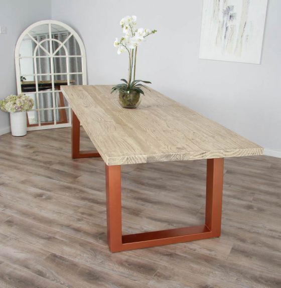 2.4m Reclaimed Pine Industrial Chic Cubex Table - Copper Coloured Legs