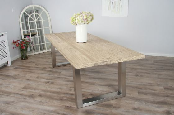 2.4m Reclaimed Pine Industrial Chic Cubex Table - Stainless Steel Legs