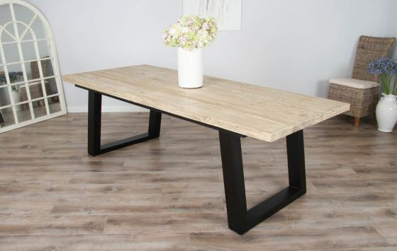 2.4m Reclaimed Pine Industrial Chic Cubex Table - Black Legs