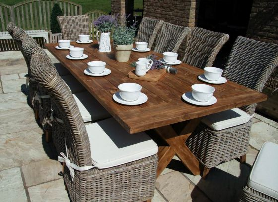 2.4m Reclaimed Teak Cross Leg Outdoor Dining Table with 10 Latifa Chairs