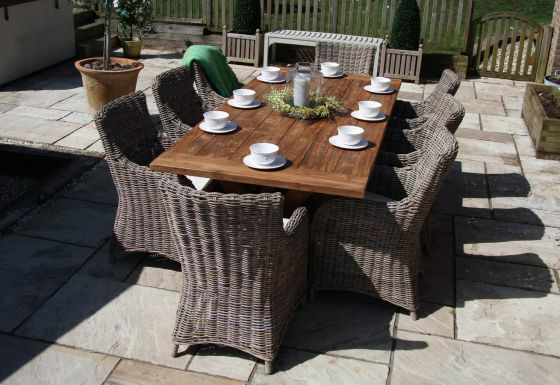 2.4m Reclaimed Teak Cross Leg Outdoor Dining Table with 8 Donna Armchairs