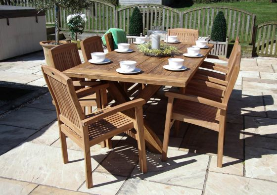 2.4m Reclaimed Teak Cross Leg Outdoor Dining Table with 8 Marley Armchairs