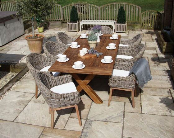 2.4m Reclaimed Teak Cross Leg Outdoor Dining Table with 8 Scandi Armchairs