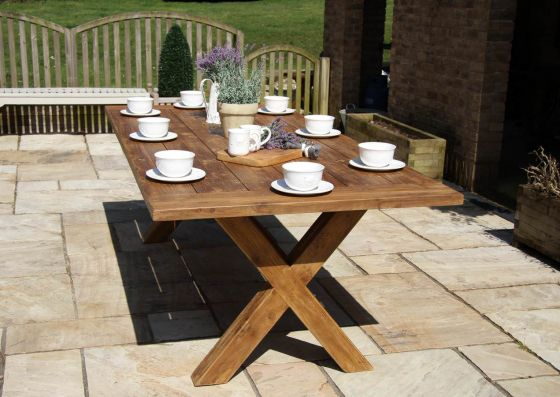 2.4m Reclaimed Teak Cross Leg Outdoor Dining Table