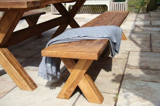 2.4m Reclaimed Teak Cross Leg Outdoor Dining Bench