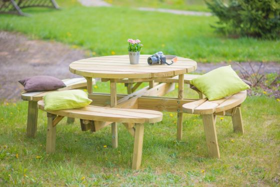 Round Picnic Bench - 8 Seat Swedish Redwood