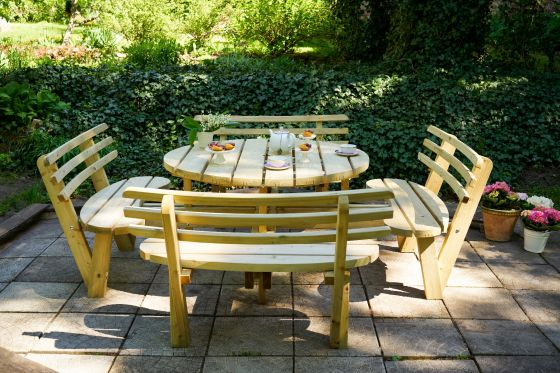 Swedish Redwood Circular Picnic Bench with Backrests