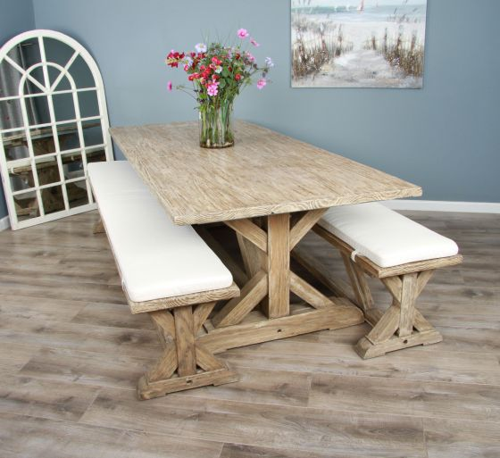 2.4m Reclaimed Pine Cross Dining Table with 2 Dining Benches