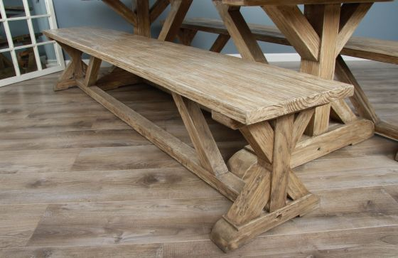 2.4m Reclaimed Pine Cross Dining Bench