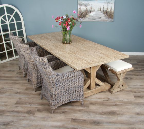 2.4m Reclaimed Pine Cross Dining Table with 3 or 5 Donna Armchairs and 1 Dining Bench