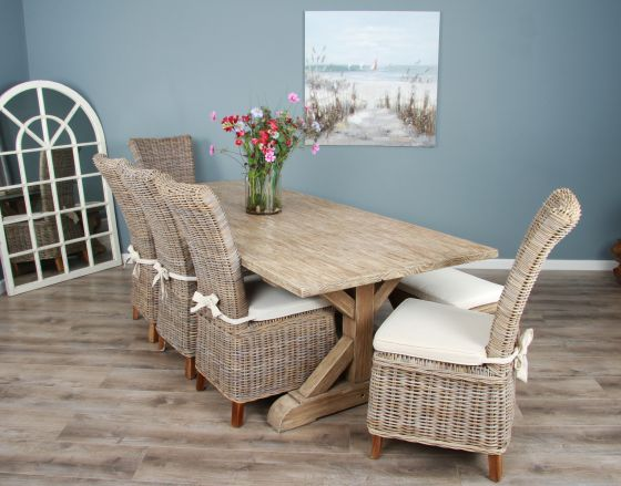 2.4m Reclaimed Pine Cross Dining Table with 5 Latifa Chairs and 1 Dining Bench