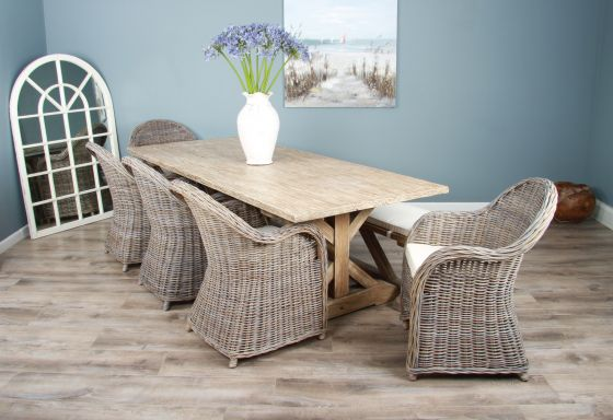 2.4m Reclaimed Pine Cross Dining Table with 5 Riviera Armchairs and 1 Dining Bench