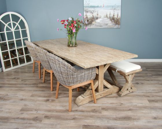 2.4m Reclaimed Pine Cross Dining Table with 3 Scandi Armchairs & 1 Dining Bench