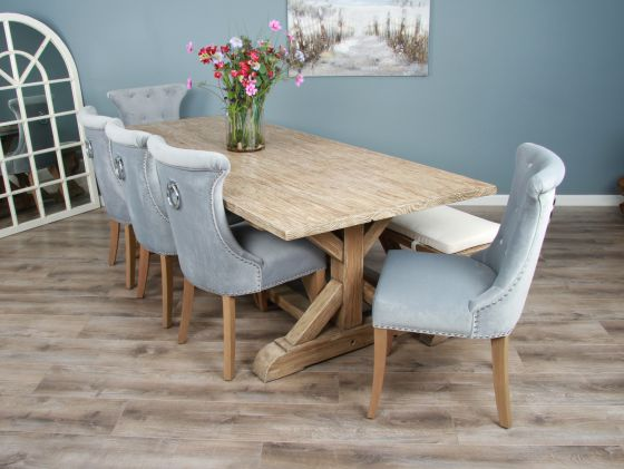 2.4m Reclaimed Pine Cross Dining Table with 5 Windsor Ring Back Chairs and 1 Dining Bench
