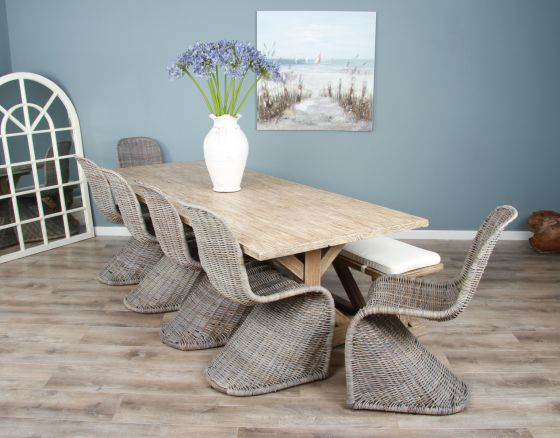 2.4m Reclaimed Pine Cross Dining Table with 6 Zorro Chairs and 1 Dining Bench