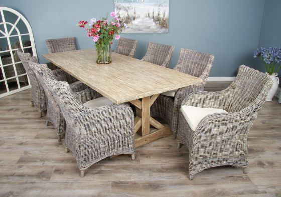 2.4m Reclaimed Pine Cross Dining Table with 8 Donna Armchairs