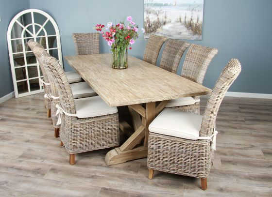 2.4m Reclaimed Pine Cross Dining Table with 8 or 10 Latifa Chairs