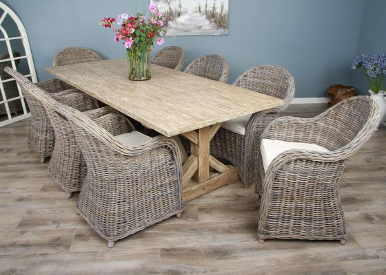 2.4m Reclaimed Pine Cross Dining Table with 8 Riviera Armchairs